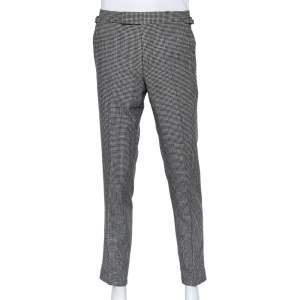Tom Ford Monochrome Wool Pied de Poule O'Connor Trousers M