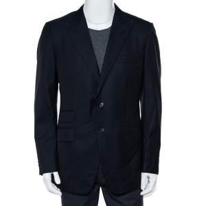 Tom Ford Navy Blue Striped Wool Button Front Blazer XL