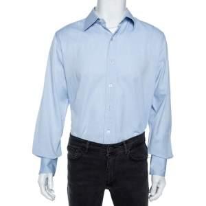 Tom Ford Light Blue Cotton Herringbone Patterned Shirt XXL