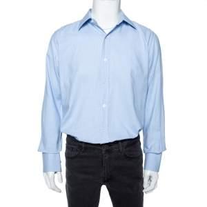 قميص توم فورد قطن أزرق سماوي منقوش مقاس كبير جداَ (اكس لارج)