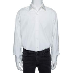 Tom Ford White Cotton Barrel Cuff Poplin Shirt XXL