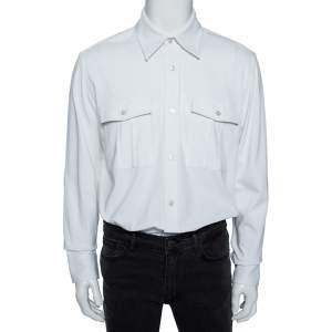 Tom Ford White Cotton Double Pocket Military Shirt XL