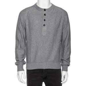Tom Ford Grey Cotton Knit Henley Sweater XL