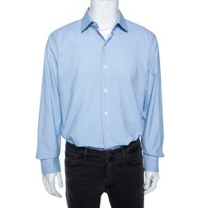 قميص توم فورد قطن أزرق سماوي منقوش مقاس كبير جداَ جداَ (اكس اكس لارج)