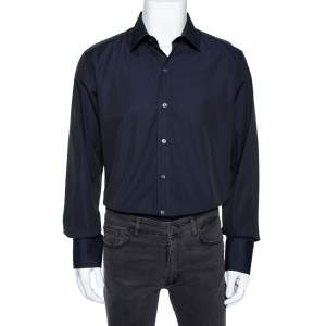Tom Ford Two Tone Coated Cotton Button Front Shirt XXL