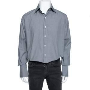 Tom Ford Black Micro Check Cotton Button Front Shirt XL