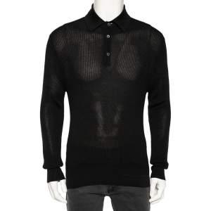 Tom Ford Black Waffle Knit Long-Sleeve Polo Shirt L