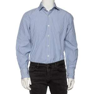 Tom Ford Blue & White Striped Cotton Button Front Shirt L