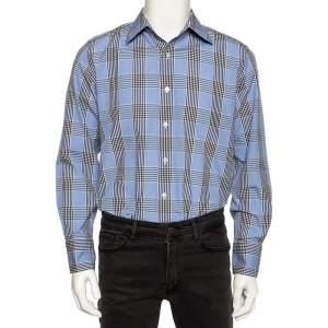 قميص توم فورد قطن كاروهات أزرق بزر أمامي مقاس كبير - لارج