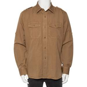 Tom Ford Light Brown Linen Patch Pocket Detailed Button Front Shirt XL