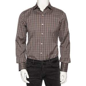 Tom Ford Brown Checkered Cotton Button Front Shirt S