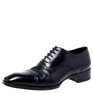 Tom Ford Black Leather Lace Up Oxfords Size 45