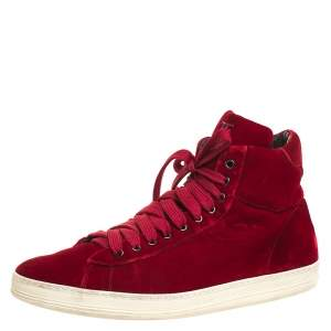Tom Ford Red Velvet Russell High Top Sneakers Size 46