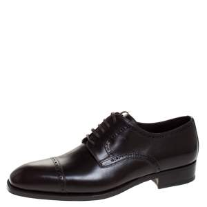 Tom Ford Dark Brown Brogue Leather Edgar Oxford Size 44.5