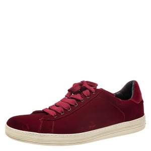 Tom Ford Red Velvet Russell Low Top Sneakers Size 44