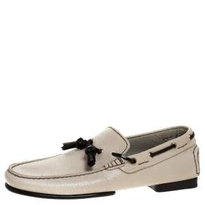 Tom Ford Beige Leather Tassel Loafers Size 41
