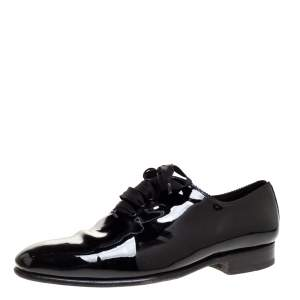 Tom Ford Black Patent Elkan Evening Lace Up Oxfords Size 44