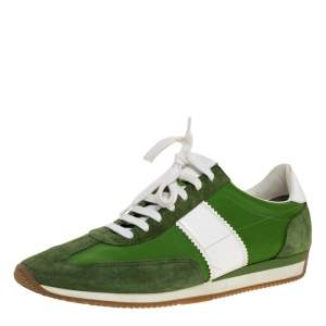 Tom Ford Green/White Canvas And Suede Orford Sneakers Size 45
