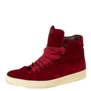 Tom Ford Red Velvet Russell High Top Sneakers Size 42