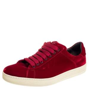 Tom Ford Red Velvet Russell Low Top Sneakers Size 42