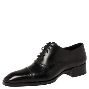 Tom Ford Black Leather Lace-Up Oxfords Size 40.5