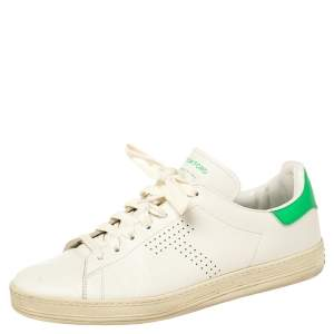 Tom Ford White Leather Warwick Low Top Sneakers Size 41.5