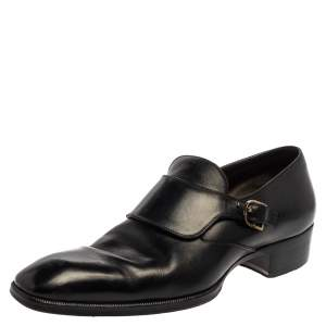 Tom Ford Black Leather Buckle Loafer Size  44.5