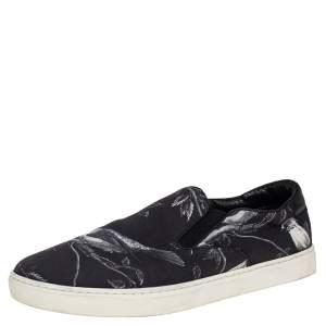 Dolce & Gabbana Blue/White Owl Print Canvas Slip On Sneakers Size 44