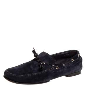 Tom Ford Navy Blue Suede Driving Loafers Size 42.5