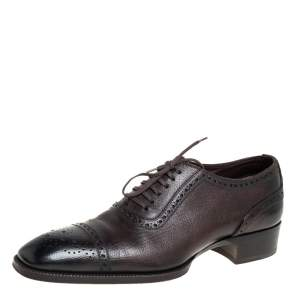 Tom Ford Brown Brogue Leather Lace Up Oxford Size 42.5