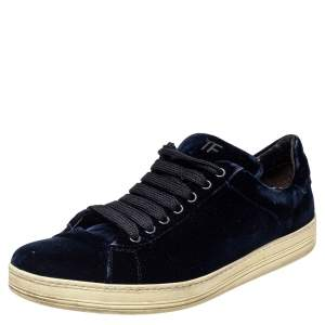 Tom Ford Dark Blue Velvet Russell Low Top Sneakers Size 44