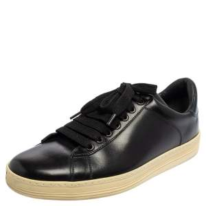 Tom Ford  Black Leather Low Top Sneakers Size 41.5