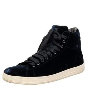 Tom Ford Navy Blue Velvet High Top Sneakers Size 44