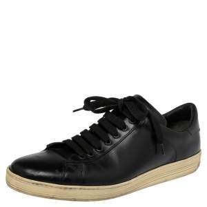 Tom Ford Black Leather Warwick Low Top Sneakers Size 44