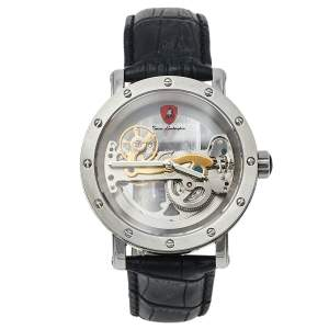 ساعة يد رجالية تونينو لامبورغيني LS4490 ستانلس ستيل وجلد هيكلية 44 مم