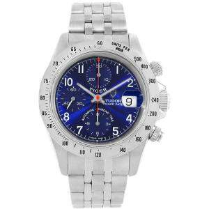 Tudor Blue Stainless Steel Tiger Woods Chrono 79280 Men's Wristwatch 40 MM