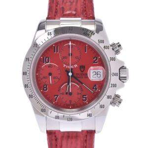 Tudor Red Stainless Steel Tiger Prince Date Chronograph Automatic 79280P Men's Wristwatch 40 MM