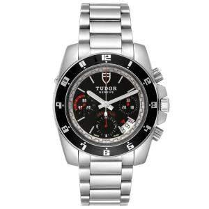Tudor Black Stainless Steel Grantour Chronograph 20350N Men's Wristwatch 43 MM