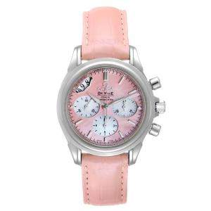 Omega Pink MOP Stainless Steel DeVille Co-Axial 4877.60.37 Men's Wristwatch 35 MM