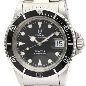 Tudor Black Stainless Steel Submariner Automatic 76100 Men's Wristwatch 40 MM