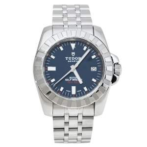 Tudor Blue Stainless Steel Sport Hydronaut 20010 Men's Wristwatch 41 mm