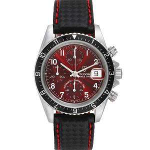 Tudor Burgundy Stainless Steel Woods Chronograph 79270 Men's Wristwatch 40 MM