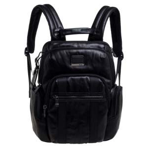 TUMI Black Leather Alpha Bravo Nellis Backpack