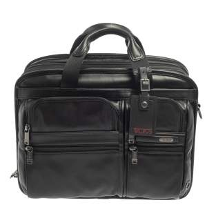 TUMI Black Leather Alpha Bravo T-Pass Expandable Laptop Briefcase