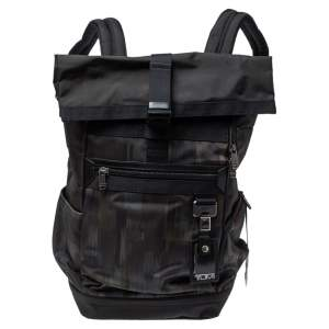 TUMI Black/Khaki Nylon Birch Roll Top Backpack