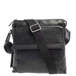 Tumi Black Leather DFO Monroe Oxford Top Zip Flap Messenger Bag