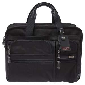 TUMI Black Nylon and Leather DFO Expandable Organizer Laptop Briefcase