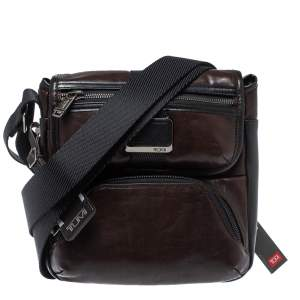 Tumi Brown/Black Leather Barton Crossbody Bag