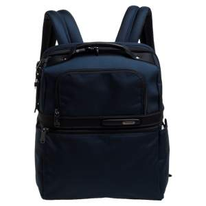 TUMI Blue Nylon and Leather Slim Solutions Backpack