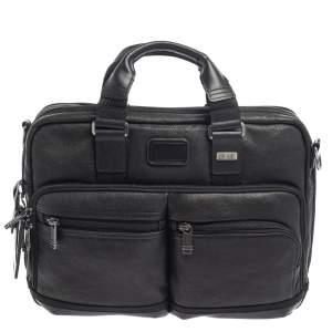 حقيبة عمل تومي بينغهام جلد أسود قابلة للمد